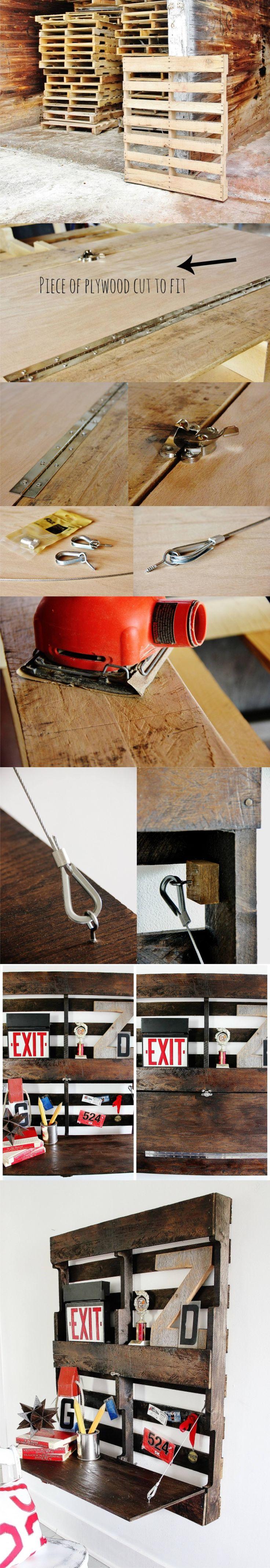 Estantería escritorio con palé - thistlewoodfarms.com - DIY Fold-up Pallet Desk
