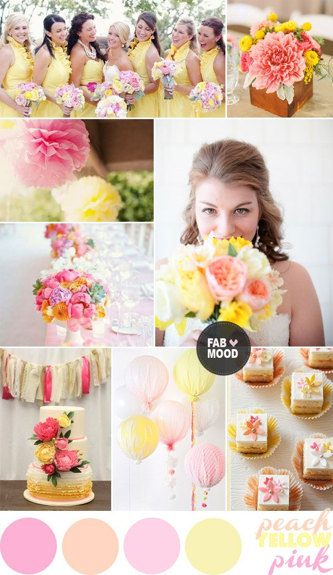 Peach,Pink & Yellow Wedding Colors Palette