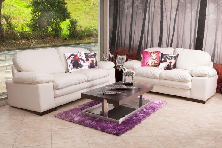 La #Sala #Ditroit es ideal para espacios con paredes en vidrio.  www.maderaymuebles.co