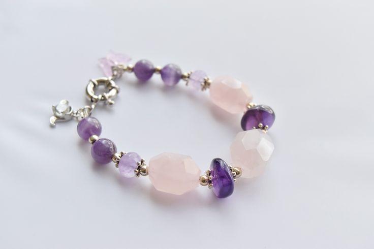 Amethyst and Rose Quartz Bracelet by VikaRepka