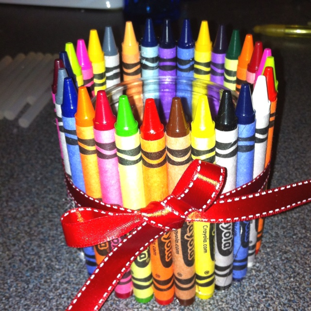 A Candle With Crayons Glued Around It Great Teacher Gift