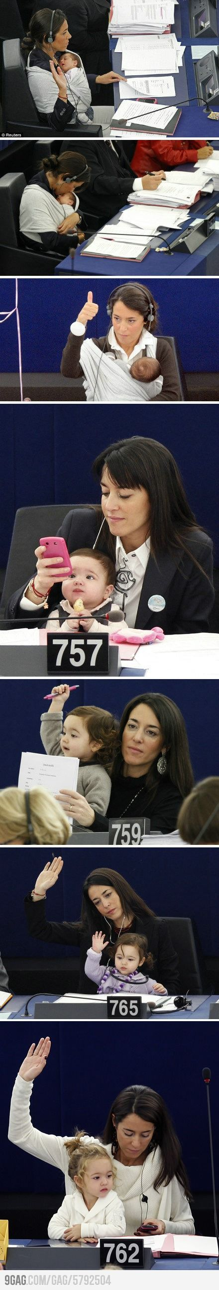 """""""On 22 September 2010 Licia Ronzulli took her daughter, Vittoria, then only 44 days old, to a plenary session of the European Parliament as a symbolic gesture to reclaim more rights for women in reconciling work and family life."""" -Wiki"""