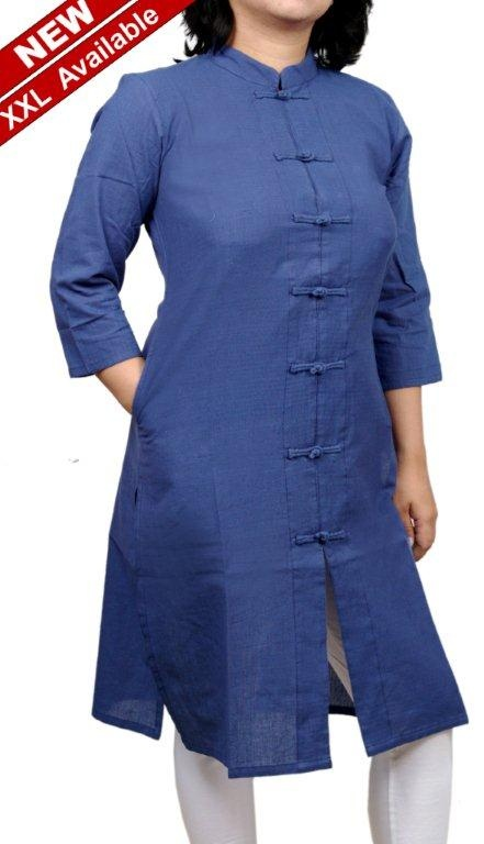 Women Corporate Kurtas,Indian Concepts ,Corporate Blue Loop-Knot Surabhi 3Q Sleeves Kurta