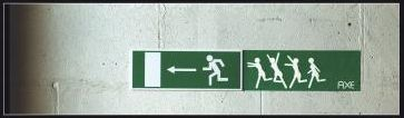 Exit Strategy / Lowe Belgium tacked on a little something extra next to an everyday Emergency Exit sign to demonstrate the Axe Effect.
