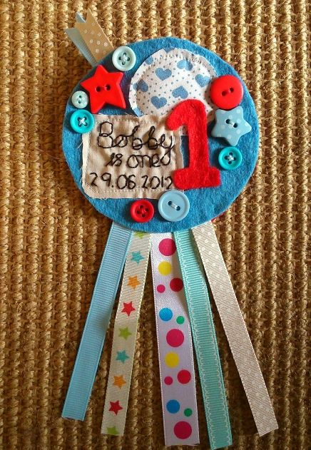 Boys birthday rosette.   https://www.facebook.com/pages/Little-Cottage-Crafts/123572114502327