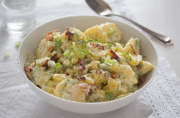 Sour Cream Potato Salad With Bacon Potato Salad Without Mayo Recipe Sour Cream Potatoes Potato Salad Potato Salad Recipe Easy