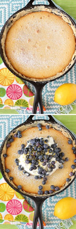 A recipe for Lemon Blueberry Gooey Butter Cake: a gooey, fluffy lemon gooey butter cake piled high with freshly whipped cream and blueberries! Delicious!