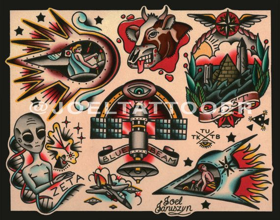 Traditional UFO / Alien / Extraterrestrial Tattoo Flash ...