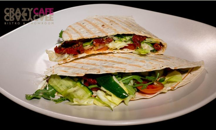Vegetarian Piadina: salad mix, arugula, fresh tomatoes, sun dried tomatoes, marinated zucchini