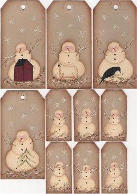 Folk Art Snowmen Tags by mayberryprim on Etsy, $4.99