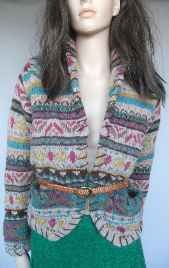 womens sweater cardigan multi colored wool size small 80s
