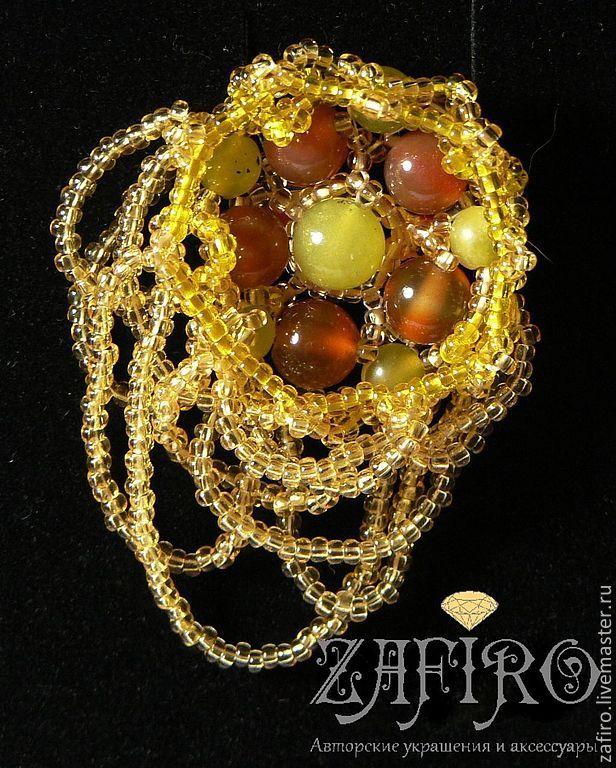 """Купить """"Золотые сны"""" коллекция украшений, бисер, натуральные камни - золотой, желтый, оранжевый"""