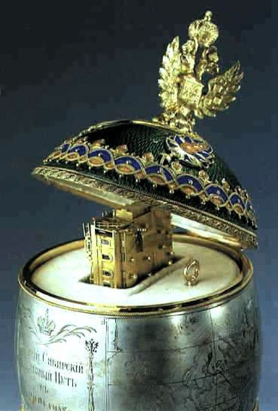 Faberge Trans-Siberian Railway Egg 1900 Presented by Tsar Nicholas II to his wife Alexandra Work-master : Michael Perkhin St. Petersburg