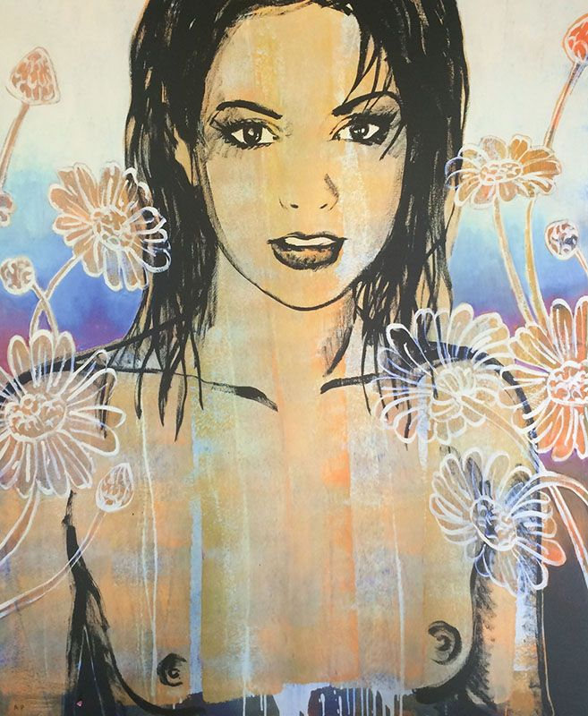 'Belinda with Flowers' by David Bromley | limited edition Artist's ProofThe Block Shop - Channel 9