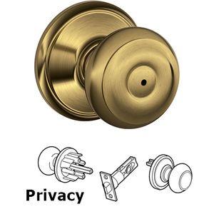 Schlage Door Hardware - Georgian Door Knobs - F40 Series - Privacy Georgian Door Knob in Antique Brass