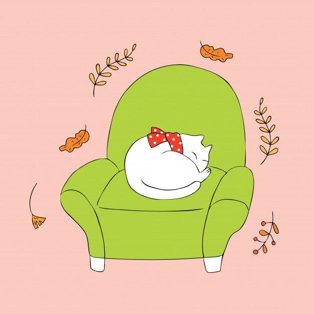 Dibujos Animados Lindo Gato Otono Dormir Vector Gatos Ilustracion De Gato Dibujos Animados
