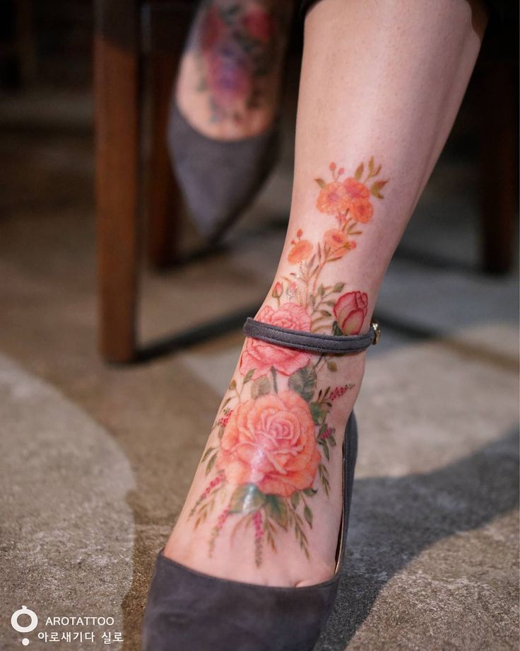 Large floral ankle piece