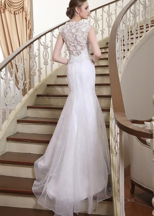 ef12646e6c43 Mermaid Lace Long Bridal Dress, Unique Wedding Dress with Train  #weddingdress #bridal #lace #uniqueweddingdress