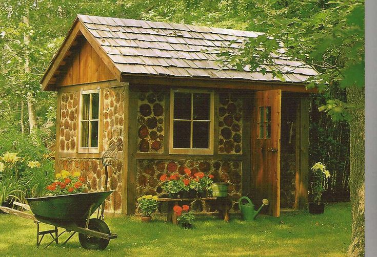 Charming Design Of Garden Tool Sheds : Fancy Design For Log Garden Tool Shed Including Dark Walnut Single Shed Door And Solid Wood Shed Roof Tile