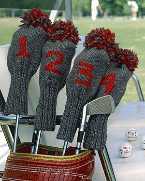 Knit some golf club covers with this free pattern to use featuring a set of knitted golf club covers. Knitting patterns.