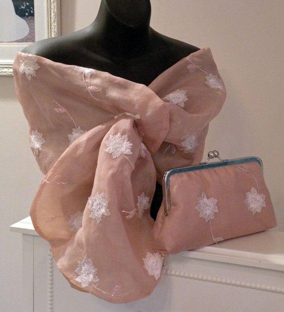 Silk Organza Wrap/Shawl/Shrug..Embroidered by Paulownias on Etsy