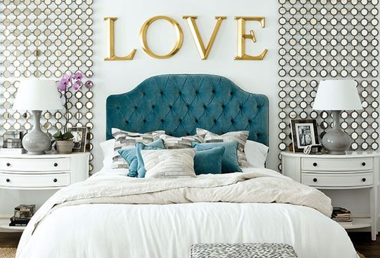 Pretty Petals: {Interiors} Gold and Turquoise in the Bedroom