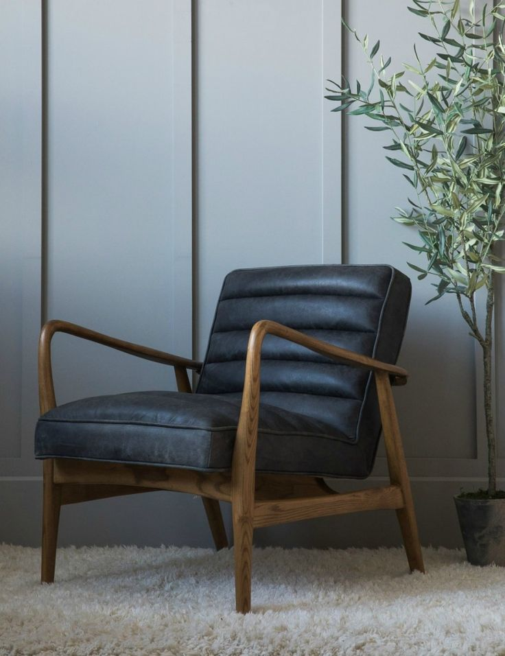 Superb Mid Century Leather Armchair   Black