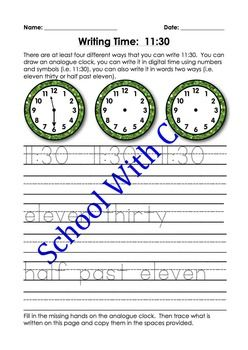 These pages are designed to be repetitive and interactive for your children so that they can learn how to write the half past times four different ways i.e. you can draw an analogue clock, you can write it in digital time using numbers and symbols (i.e. 1e:30), you can also write it in words two ways (i.e.