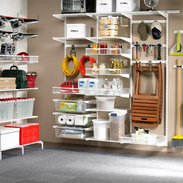 White Elfa Utility Basement Organization In Garage Or Closet