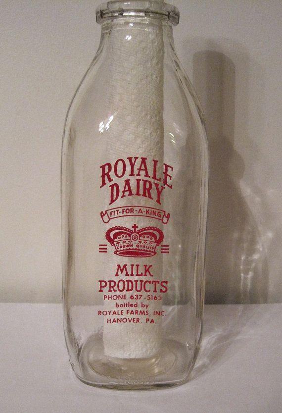 Royale Dairy Milk Bottle Quart size Milk Bottle by SmallCrownShop