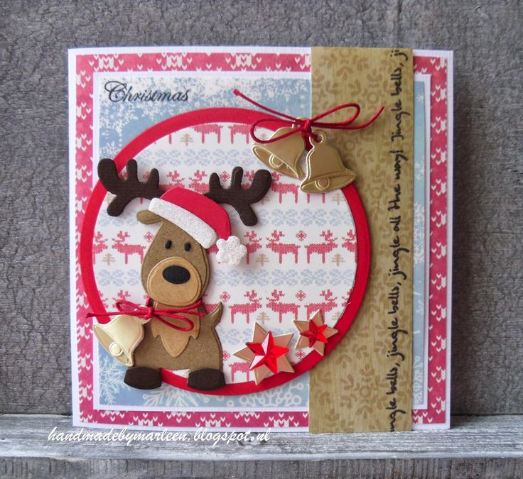 Handmade by Marleen; Christmas Bells with Collectables Eline's Reindeer (COL1369) and Snow Globe (COL1362) from Marianne Design