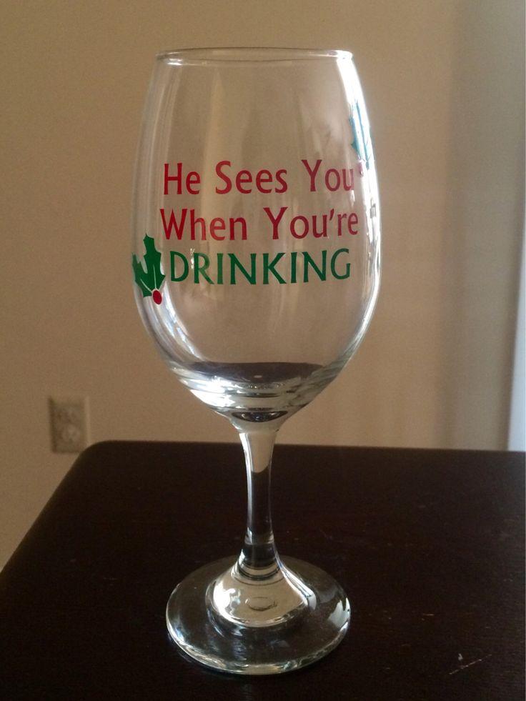 Christmas wine glasses christmas wine and see you on for Christmas painted wine glasses pinterest
