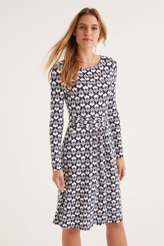 Womens Boden Blue Abigail Jersey Dress Blue Jersey Dress Dresses Boden Dress