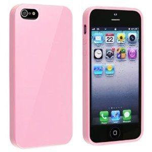 pink flat silicone phone sets tpu / PC Case for iphone5