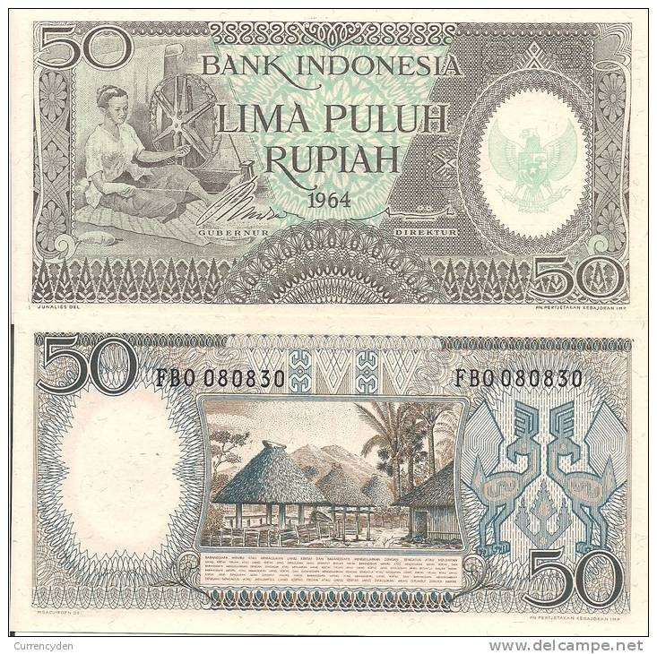 Indonesia P96, 1964, 50 Rupiah, Timor woman, spinning wheel / village with huts