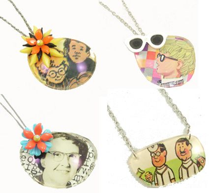 Necklace pendants from old glasses lenses