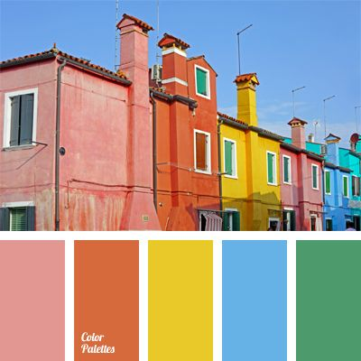 This palette consists of rich, pure, and bright colors. The base is the blue sky complemented with coral, yellow, and green. All together they create a very cheerful picture. Decorated in these colors, a children's room or a living room will be cozy and unusual.