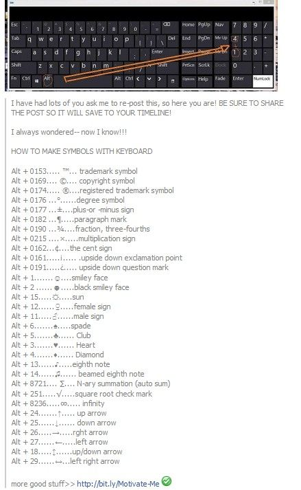 Simple instructions for making symbols on your keyboard.