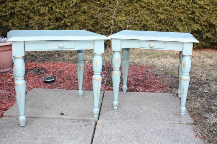 Pine side tables - ASCP Duck Egg Blue