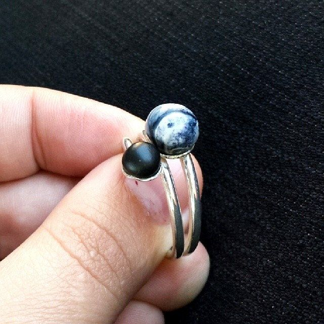 #handmade #sterlingsilver and #polymerclay #ring *Kekelis* #jewelry #metalsmithing #polyclay #clay #bnw #blackandwhite
