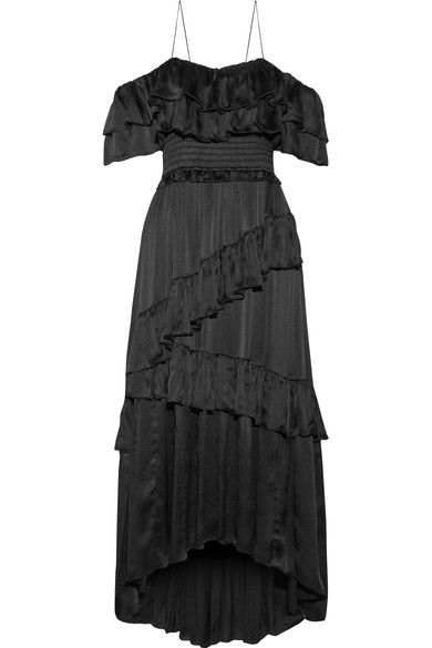 Ulla Johnson - Louisa Off-the-shoulder Ruffled Crinkled-silk Gown - Black