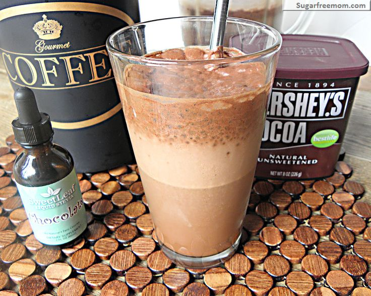Mocha Iced Coffee Frappe: 1 1/2 cups chilled brewed coffee  • 1/2 cup  almond milk, unsweetened or milk of choice  • 2 tablespoons cocoa powder, unsweetened  • 1 teaspoon vanilla extract  •1 1/2 cups crushed ice  • 1/2 teaspoon-1 teaspoon SweetLeaf Liquid Stevia in chocolate  Directions- Using a blender, blend all ingredients on high speed until smooth and foamy.