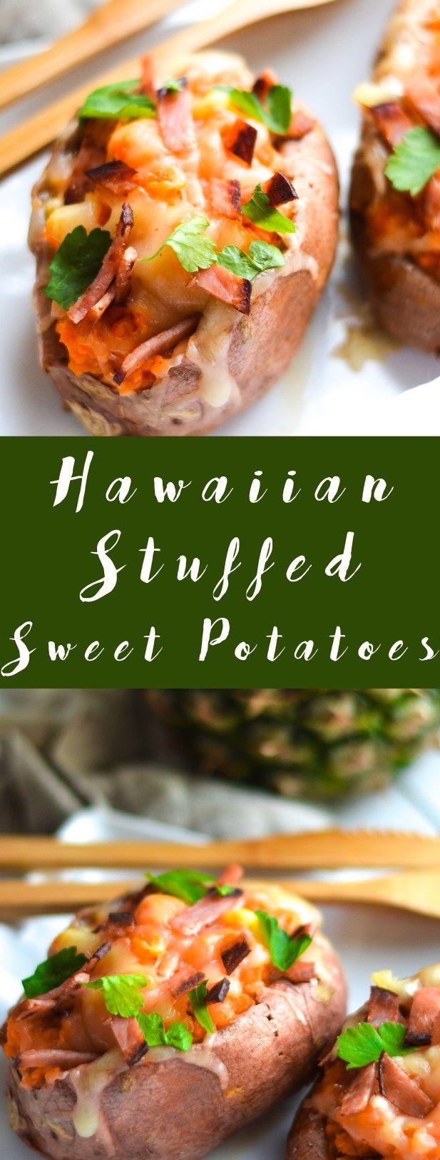 These sweet and savory Hawaiian Stuffed Sweet Potatoes are a fun side dish the whole family will love! via @my