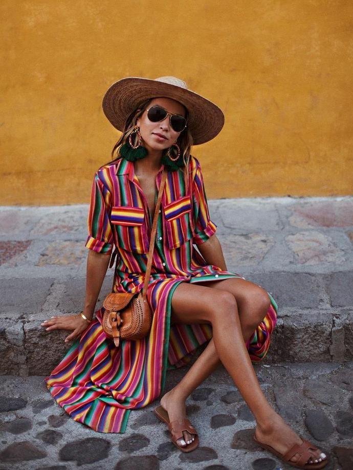eb09daaf2f1 Bohemia Striped Shirt Maxi Dress