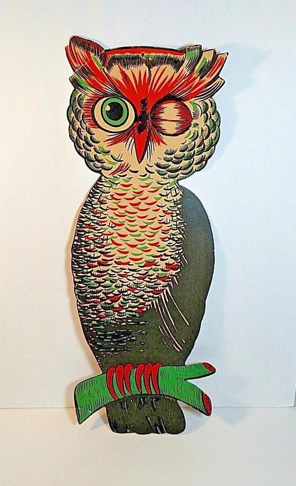 1940s HE Luhrs OWL Early Beistle Die Cut Paper Halloween - large halloween decorations