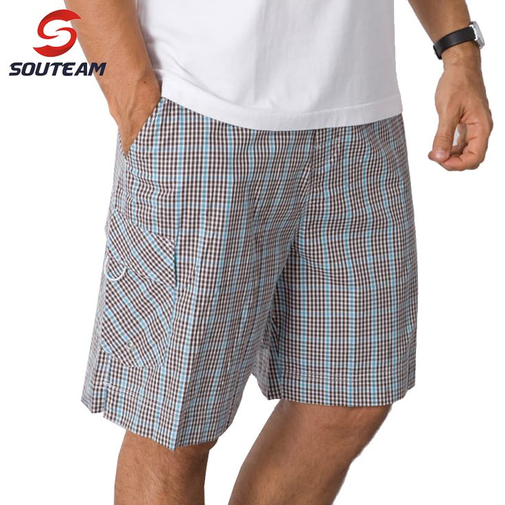 SOUTEAM Brand Beach Shorts For Men Plaid Sports Shorts 100% Cotton Men's Surf Shorts High Quality Brazilian Boardshorts #3400610