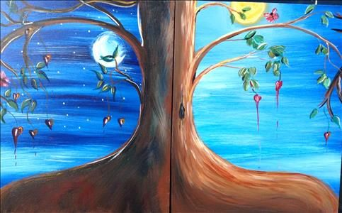 Moonlit Love - perfect for a paint night for two!