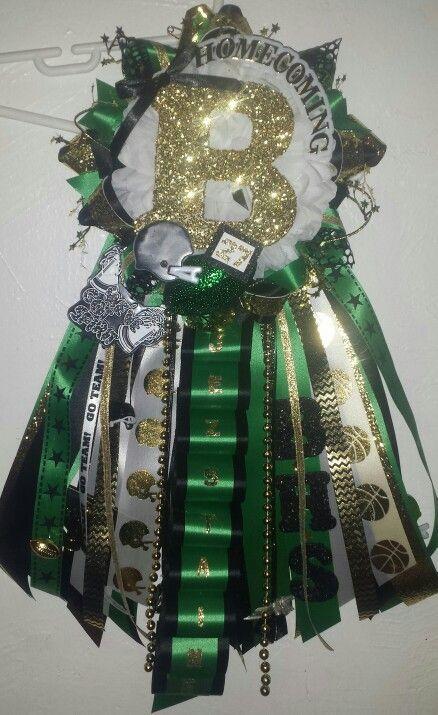 Green & gold homecoming garter mum