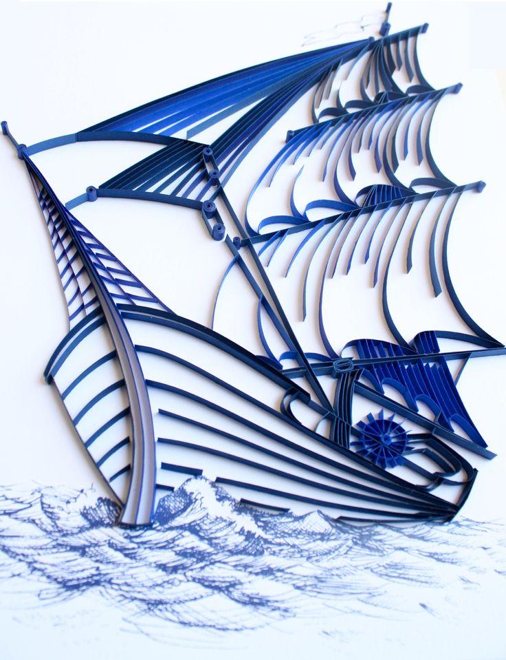 Корабль квиллинг открытка