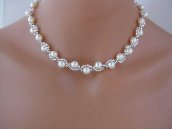 Regalo de collar nupcial de la perla marfil boda joyería Swarovski marfil perla…